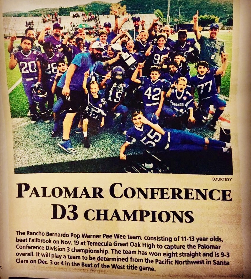 2016 RBPW Pee Wee Football Palomar D3 Champs